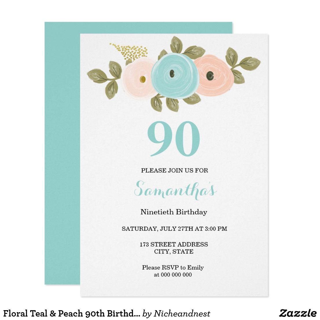 Floral Teal & Peach 90th Birthday Party Invitation   90th birthday ...