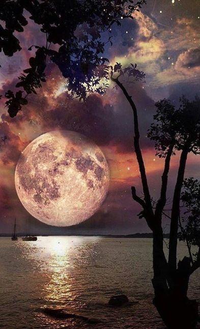 Mystical Night Sky Wallpaper Beautiful Moon