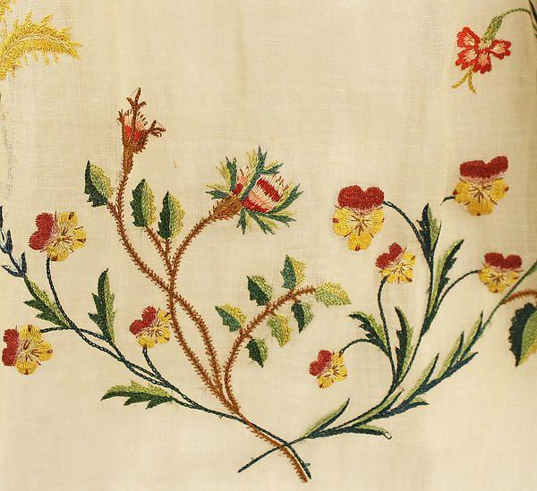 * Embroidery cotton, silk on Ensemble ca. 1798 probably European - detail