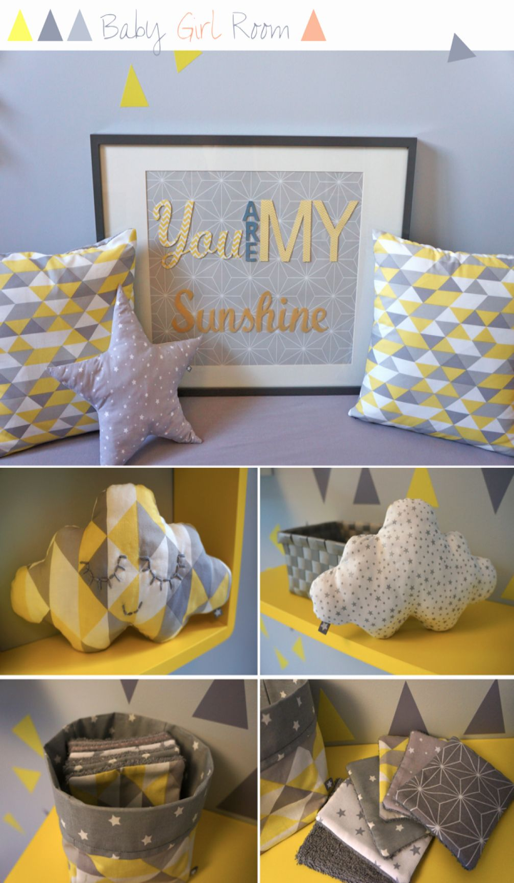 Nursery Baby Girl Room In Yellow Grey Coral Chambre Chambre Gris