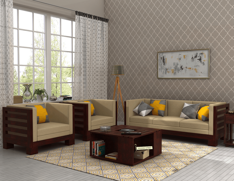 The Durability Of Mango Wood With Light Honey Finish Will Make Your Home Delightful Attracting Hizen Sofa Set It Has An Alluring Design Which