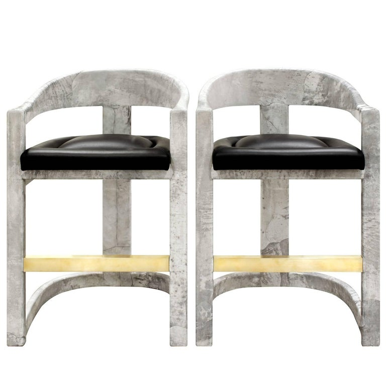 Pair Of Karl Springer Stools Onassis Bar 1980s American Modern Brass Goatskin Leather In 2020 Stool Bar Stools Modern Stools