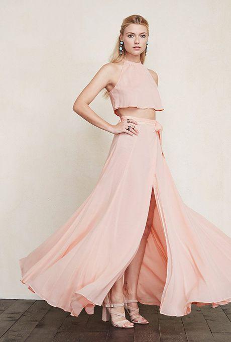 2 Piece Pale Pink Bridesmaid Dresses