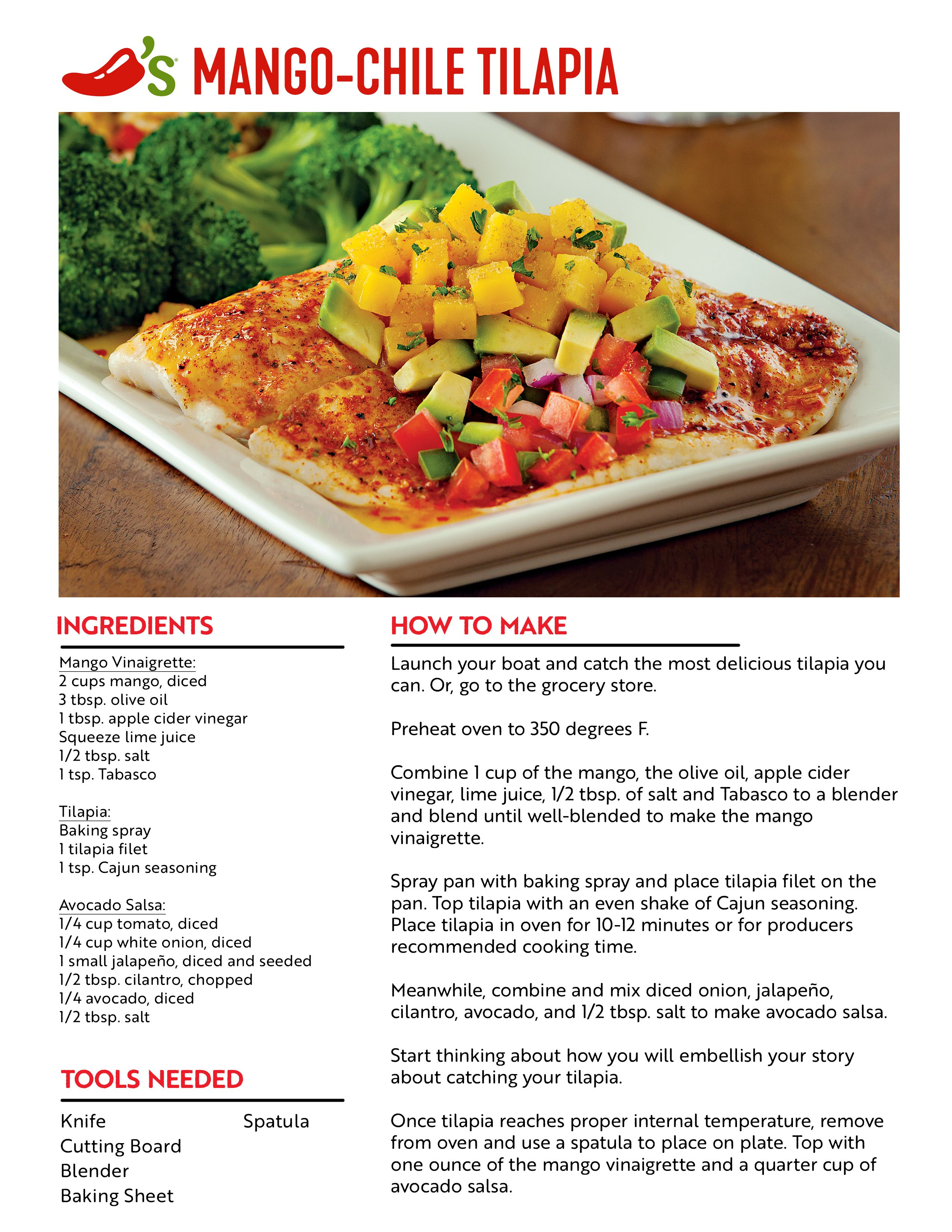 photograph about Chilis Menu Printable referred to as Chilis Mango-Chile Tilapia Recipe Goodbyes Are Never ever