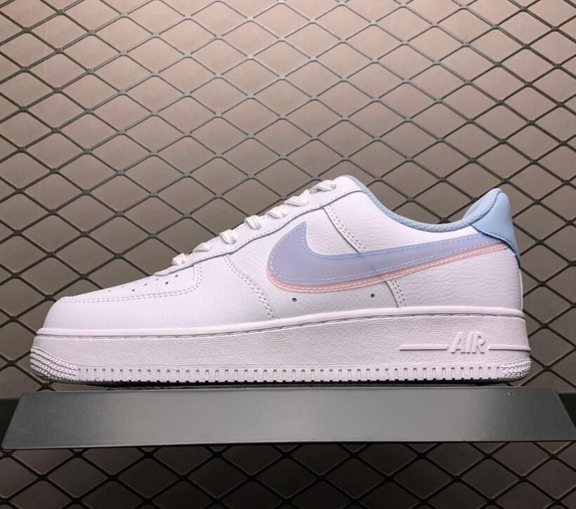 Buy Nike Air Force 1 Low Double Swoosh White Armory Blue Pink Cw1574 100 Nike Air Force Nike Air Nike