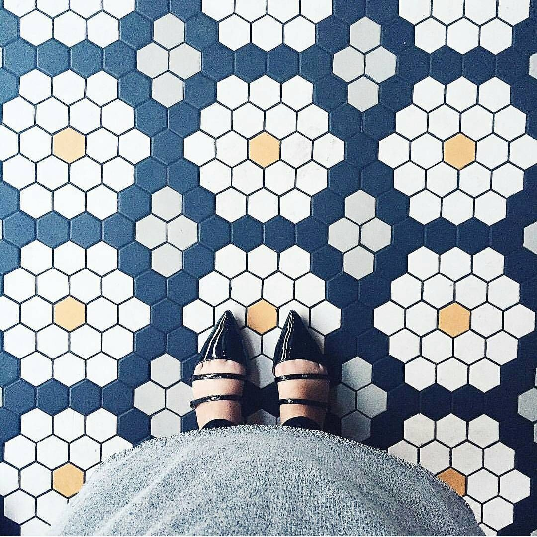 navy yellow white pattern with medium hex tiles | tricks with tile ...