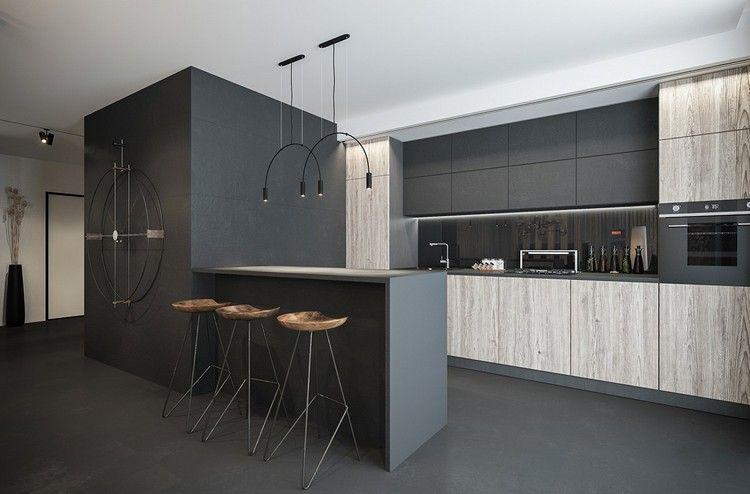 minimalistische küche hängeschränke grau #küche #kitchen #design - wandverkleidung für küchen