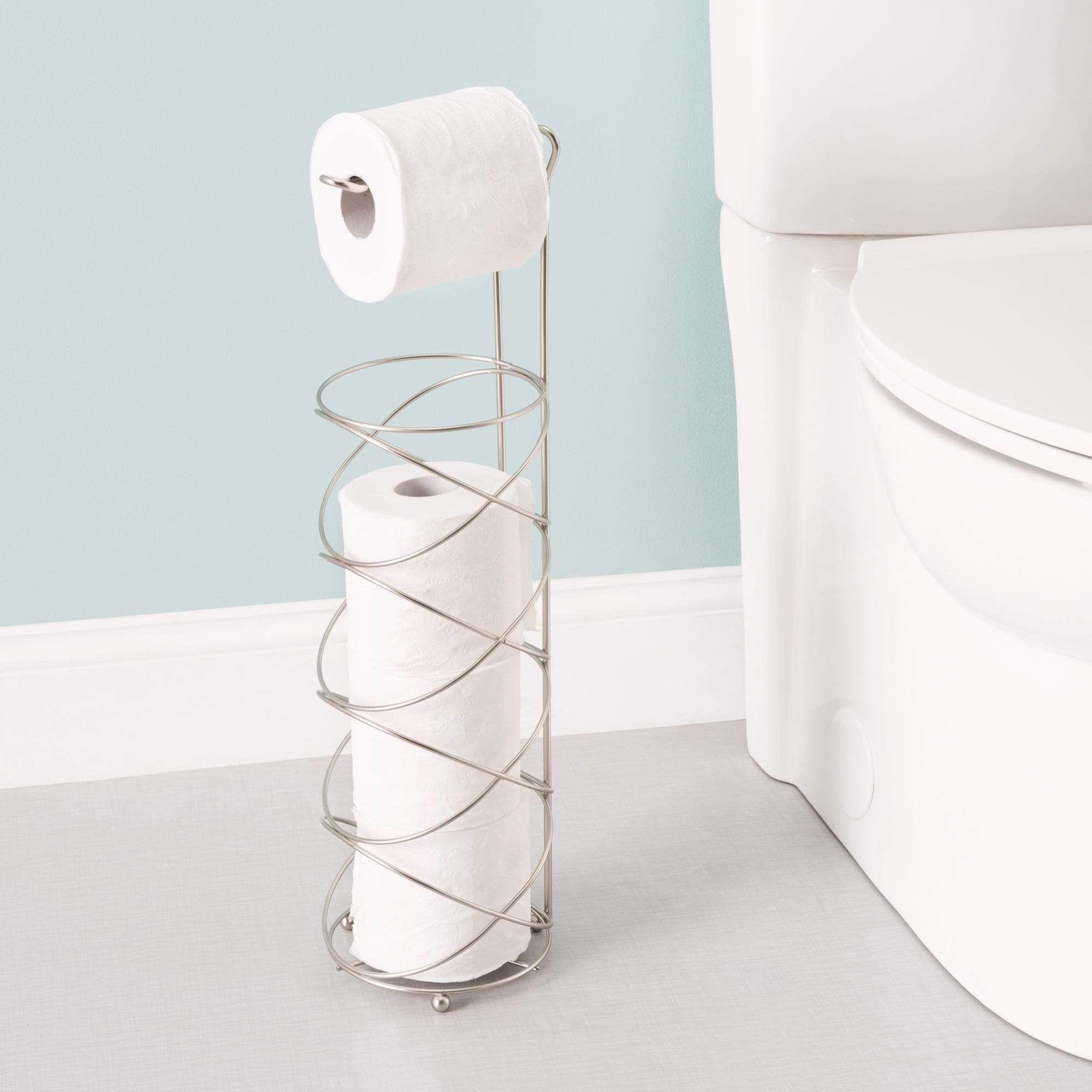 Modern Swirl Freestanding Dispensing Toilet Paper Holder Satin Nickel In 2021 Toilet Paper Holder Free Standing Toilet Paper Holder Toilet Paper Stand