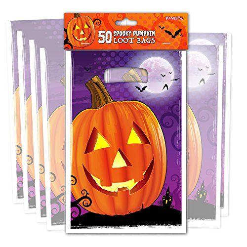 Kangaroo\u0027s Pumpkin Loot Bags - (50 Pk) Jack O Lantern Trick or Treat - decorate halloween bags