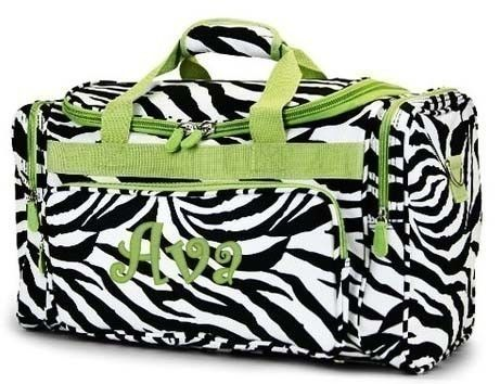 Personalized Duffle Bag Zebra Lime Green Trim DANCE GYM Cheer Luggage 0f326dd01738e