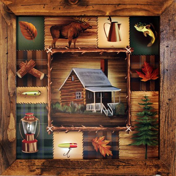 lodge decor cabin 21x21 framed art by