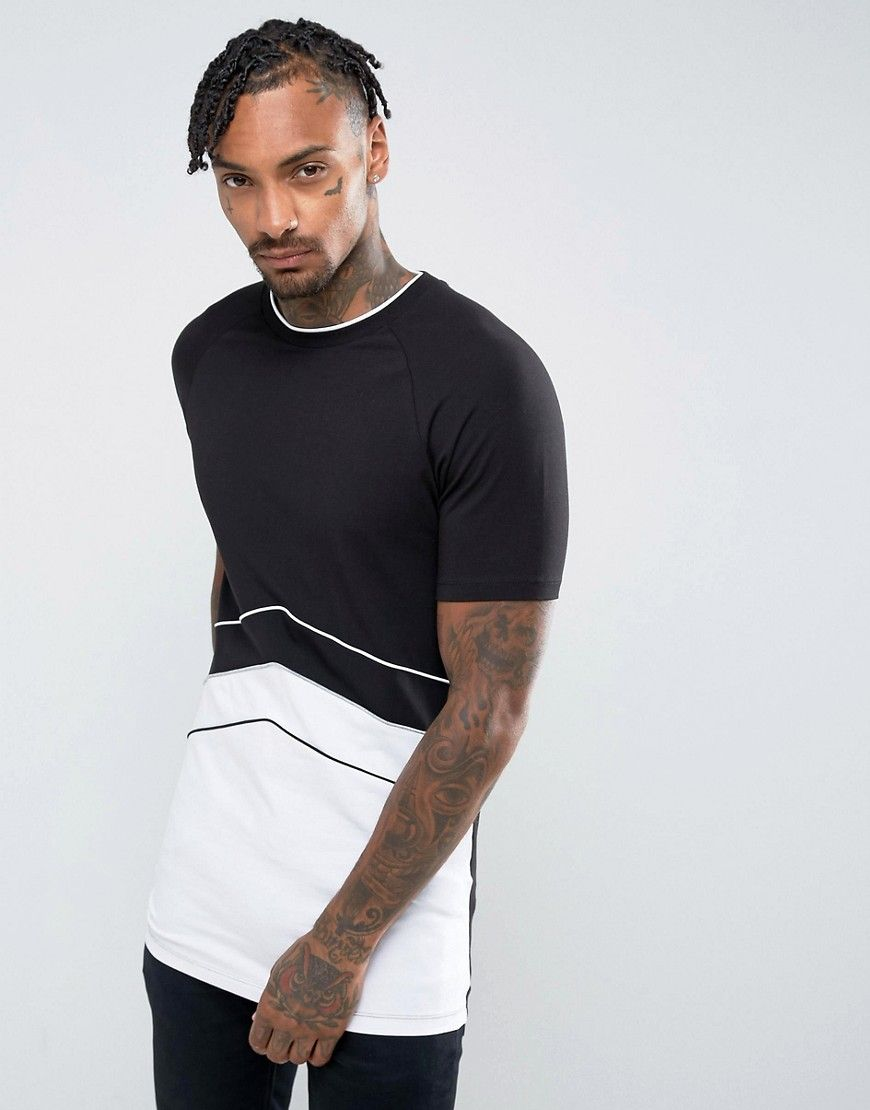 ff41f21e ASOS Longline Muscle T-Shirt With Retro Cut And Sew Panelling In Black