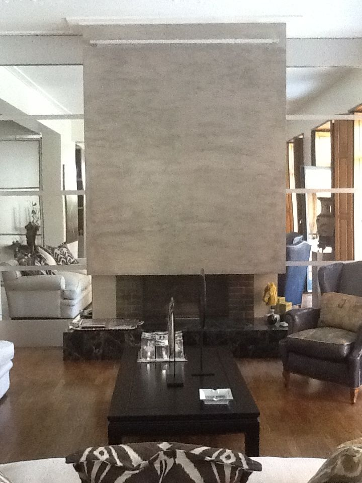 Fireplace decorated with recin  Designed by me  www.imprinting.eu