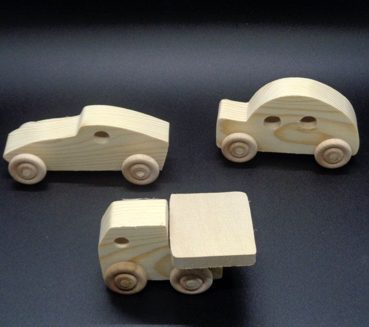 Pkg Of 3 Handcrafted Wood Toy Cars, Truck OT- 57