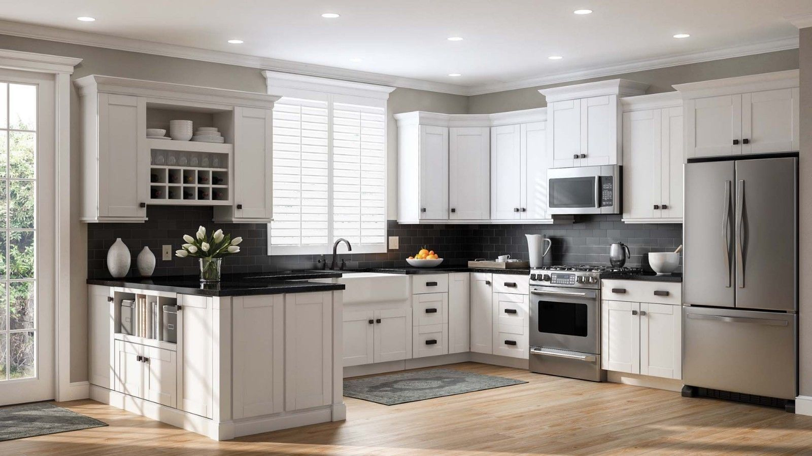 10 X10 White Shaker Solid Maple Wood Kitchen Cabinets 5 8