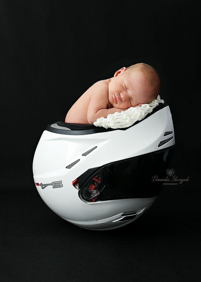 Newborn Baby In Motorbike Bike Helmet Bike Helmet Photo Ideas