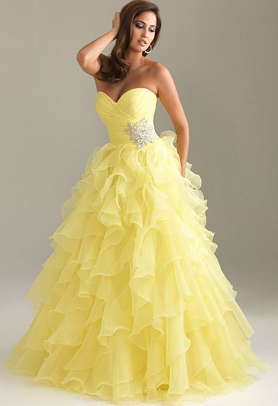 Yellow Strapless Night Moves 6400 Organza Ball Gown Prom Dress ...