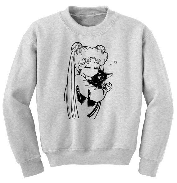 Sailor Moon Sweater Anime Kawaii Cosplay Luna Cat Manga Print Fashion Clothes Gift For Her