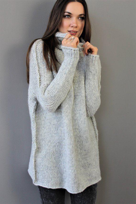 8c0d581b2a4 Oversized   Chinky   Loose knit sweater. Alpaca Wool women sweater. Thumb  holes sweater. Turtlene