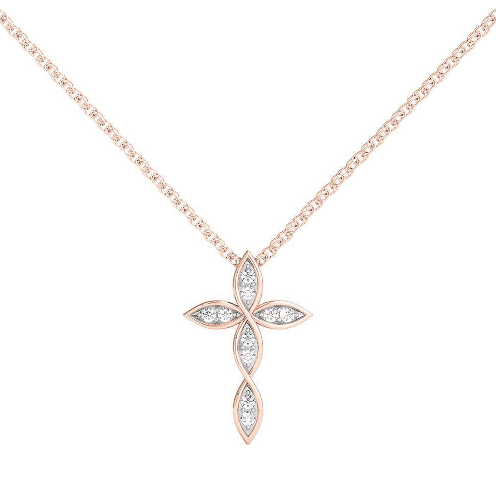 1 8 Ct Tw Diamond Cross Pendant In 10k Rose Gold In 2020 Diamond Circle Pendant Diamond Cross Pendants Cross Jewelry