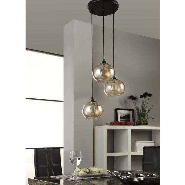 Uptown 3-light Amber Globe Cluster Pendant - Overstock Shopping - Great Deals on Chandeliers  sc 1 st  Pinterest & Uptown 3-light Amber Globe Cluster Pendant - Overstock Shopping ...