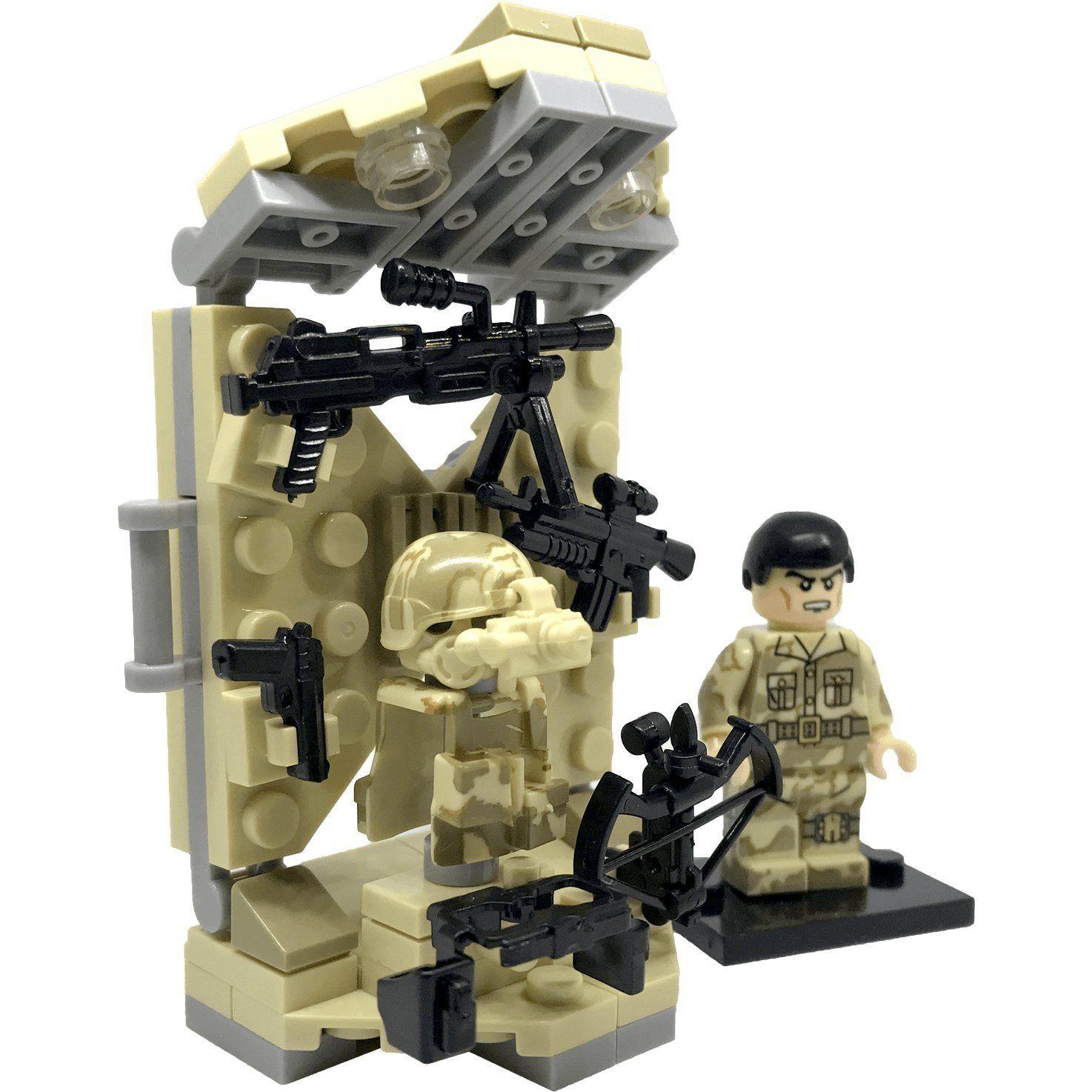 Lego militaire WW2 blocs armée soldat moto avec briques Gun Building