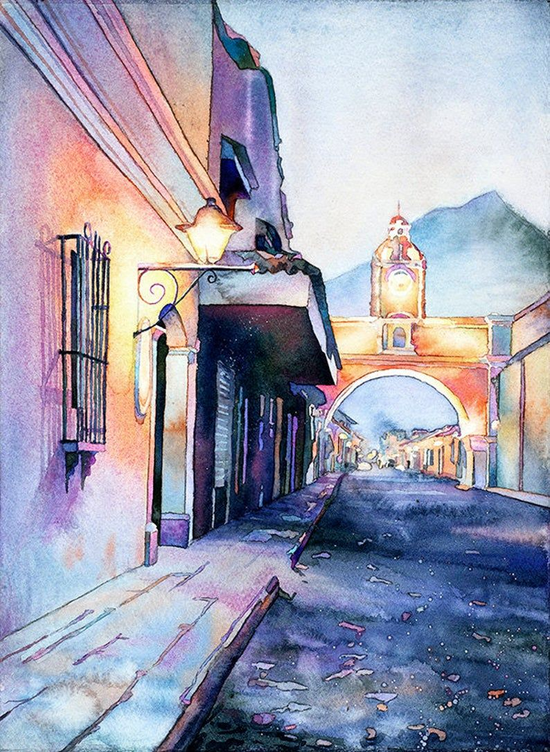 Arch Of Santa Catalina In City Of Antigua Guatemala Wall Art Etsy In 2021 Watercolor Landscape Guatemalan Art Landscape Art