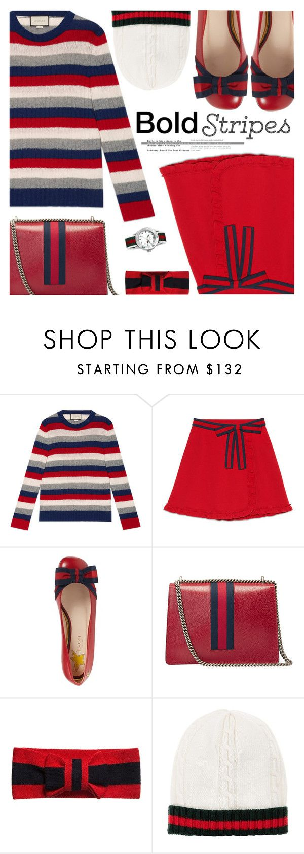 """Big, Bold Stripes"" by shoaleh-nia ❤ liked on Polyvore featuring Gucci"