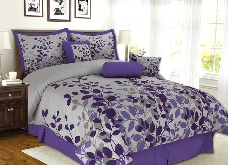 Best New Fresca Comforter Set Light Gray Purple Bed In A Bag 400 x 300