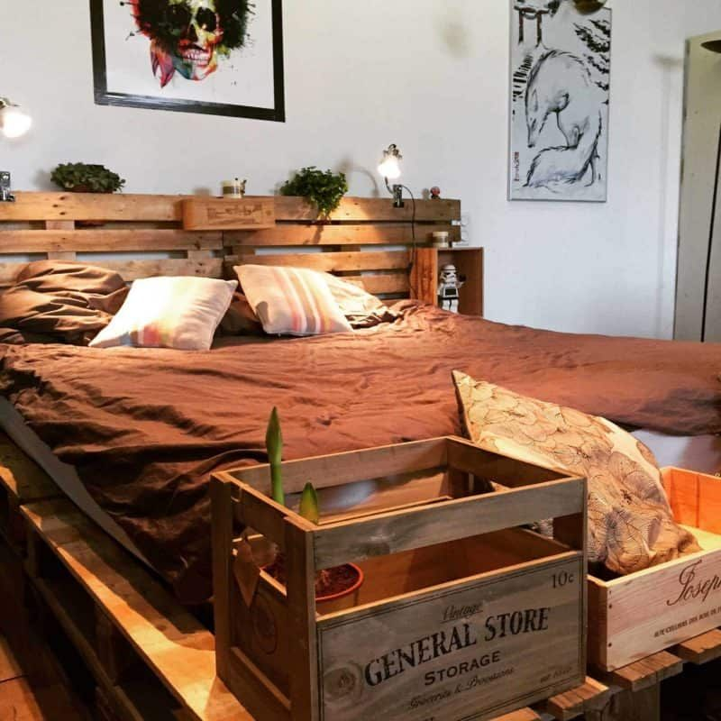 Photo of Minimalist Pallet Bed Frame & Headboard • 1001 Pallets