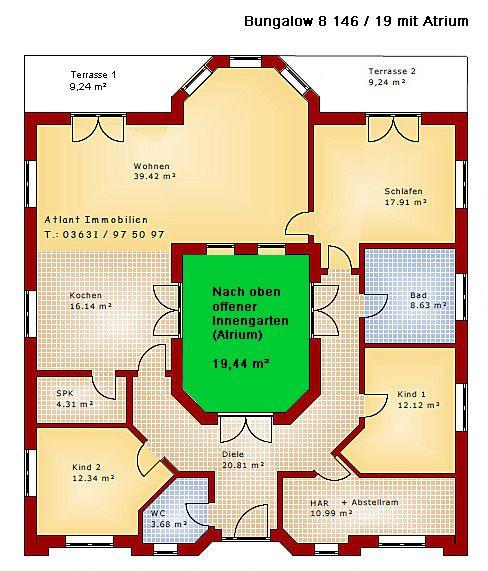 Atrium 8 146 19 projekt bungalow einfamilienhaus neubau for Atriumhaus bauen