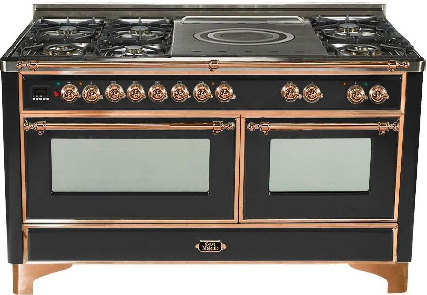 Gloss Black Dual Fuel Freestanding, Double Oven Electric Range With Warming Drawer