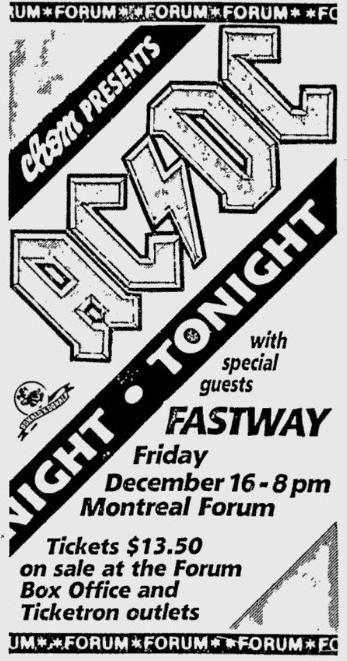 Highway To Acdc Forum : highway, forum, 1983/12/16, Montreal,, Forum, Highway, Francophone, AC/DC, Musique, Musique,