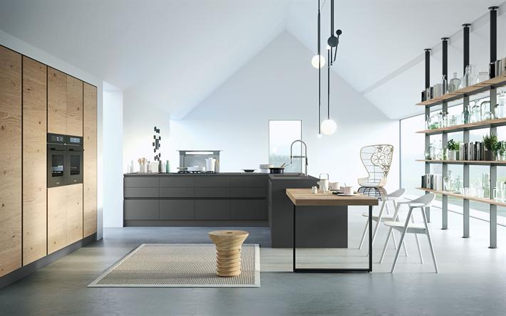 Download Wallpapers Modern Design For The Kitchen Modern Minimalism Modern Interior Kitchen Besthqwallpapers Com Minimalist Home Modern Interior Classic Decor