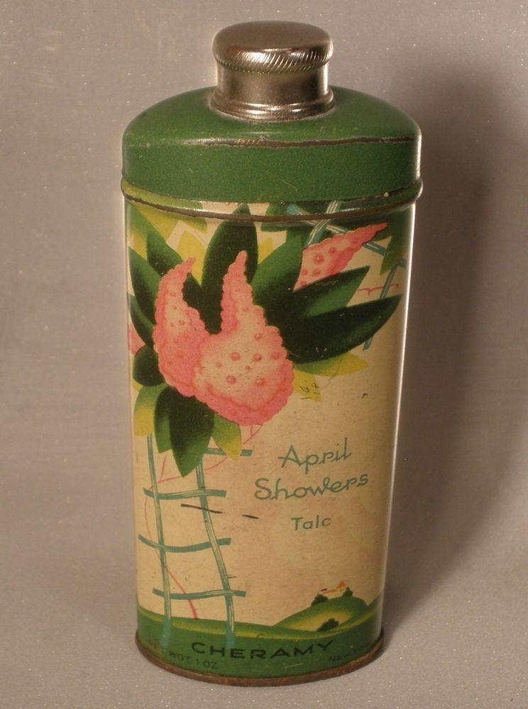 Cheramy April Showers Talc Tin 1 Ounce Size Talc April Showers Perfume Bottles