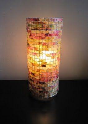 Lmpara hecha con jarrn forrado de papel de colores transparente lmpara hecha con jarrn forrado de papel de colores transparente cuadriculado con un exacto paper lampshadelampshadesdiy greentooth Images