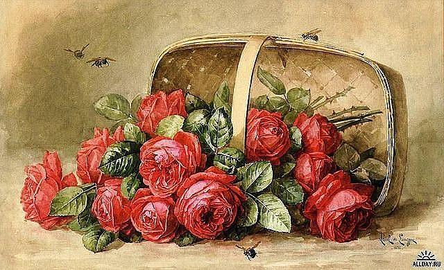 Розы в корзине | Краска, Розы, Винтажные цветы