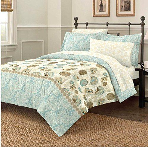 7 Piece Blue Sea Nature Themed Comforter Queen Set, All O