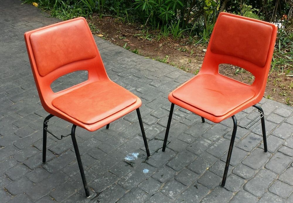 Pair Of Vintage Retro Orange Philippus Potter 1970 S Stacking Dining Chairs X2