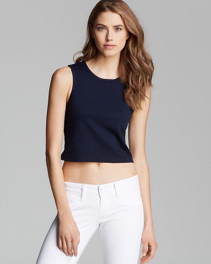 Aqua Top - Sleeveless Crewneck Ponte Crop - women's fashion (navy, dark blue clothing apparel)