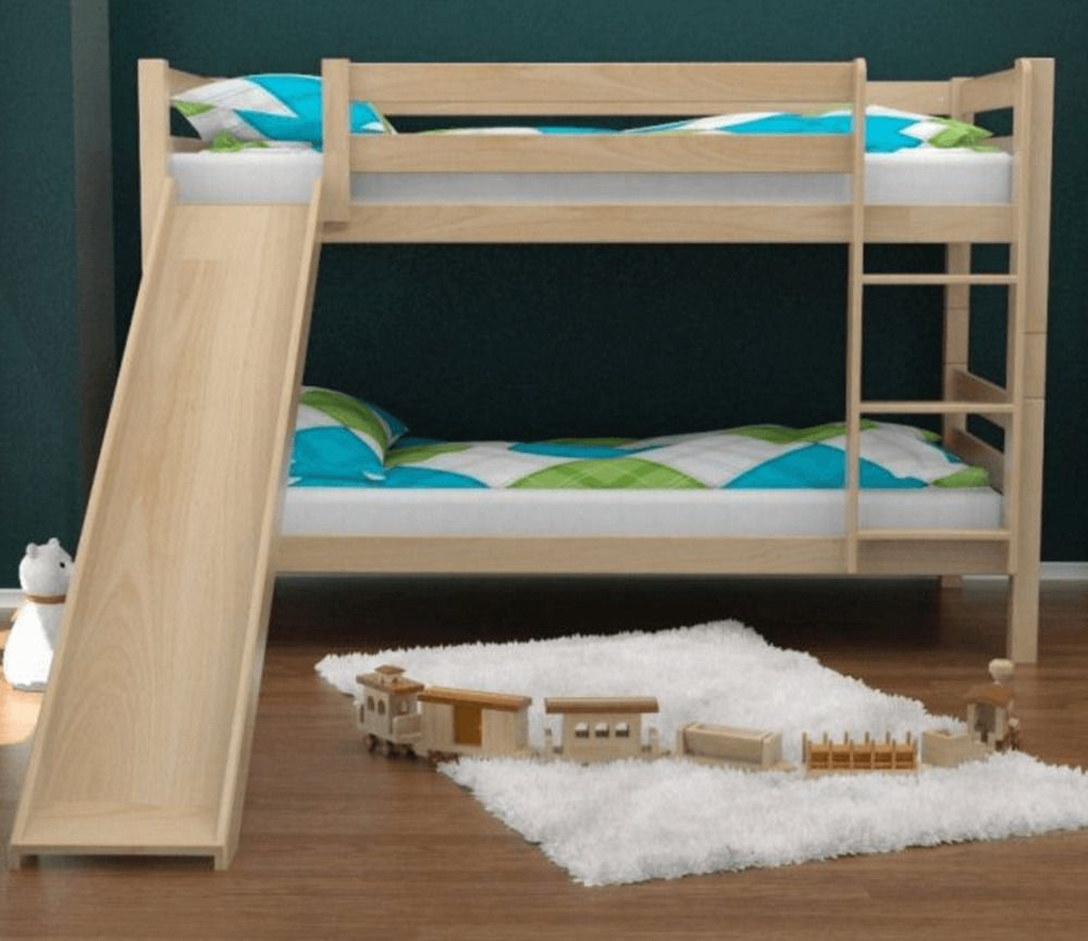 Details About Aiden Natural Bunk Bed With Slide With Images