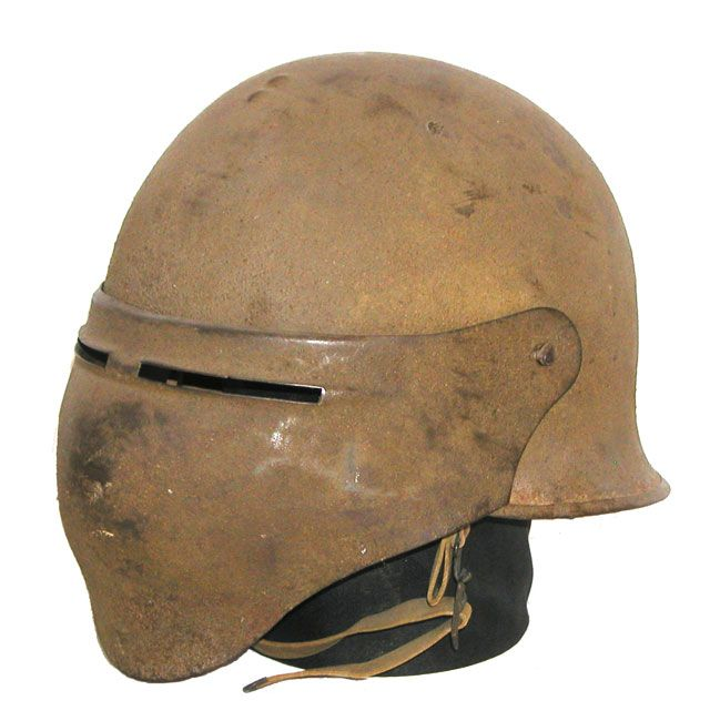 The most striking of the American experimental helmets to be produced in large numbers, the Model 8 featured a visor that offered almost complete protection to the wear's face. About 1,300 of these helmets were produced, though none received combat field-testing during WWI.