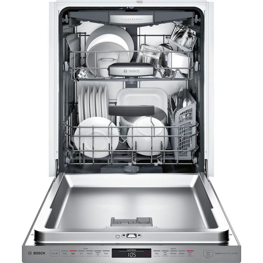 Bosch 800 42 Decibel Built In Dishwasher Stainless Stee Lowes Com Steel Tub Stainless Steel Dishwasher Integrated Dishwasher