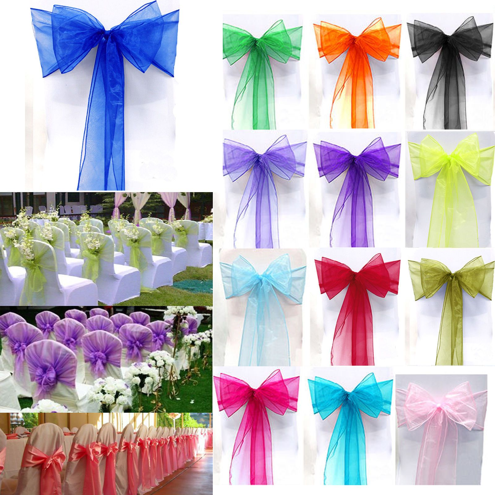1 15 aud 1 10 50 100 organza sashes chair cover bows wedding