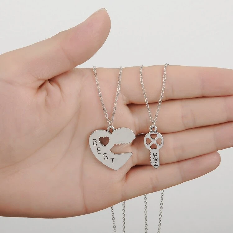 Necklaces Heart Hollow Best Friends in 2020 | Friend jewelry, Heart key necklace, Bff necklaces
