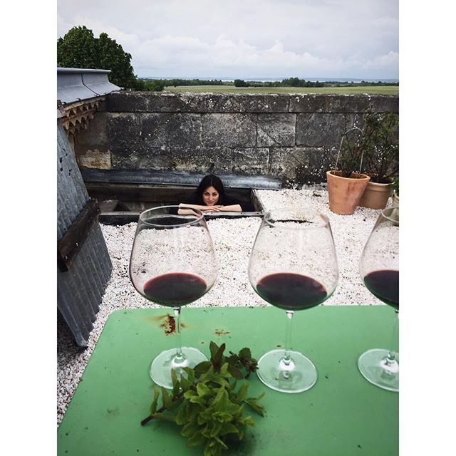 ... but then life went back to normal and we did a winevtasting on the roof + we got some mint for Mimi's fava bean soup #thursdaysinmedoc #styzansstyle #mangerworkshop