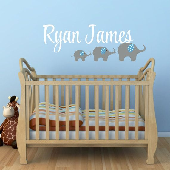 Elephant Wall Decal Name Wall Decal Wall Decal Nursery - Personalized custom vinyl wall decals for nurserypersonalized vinyl etsy