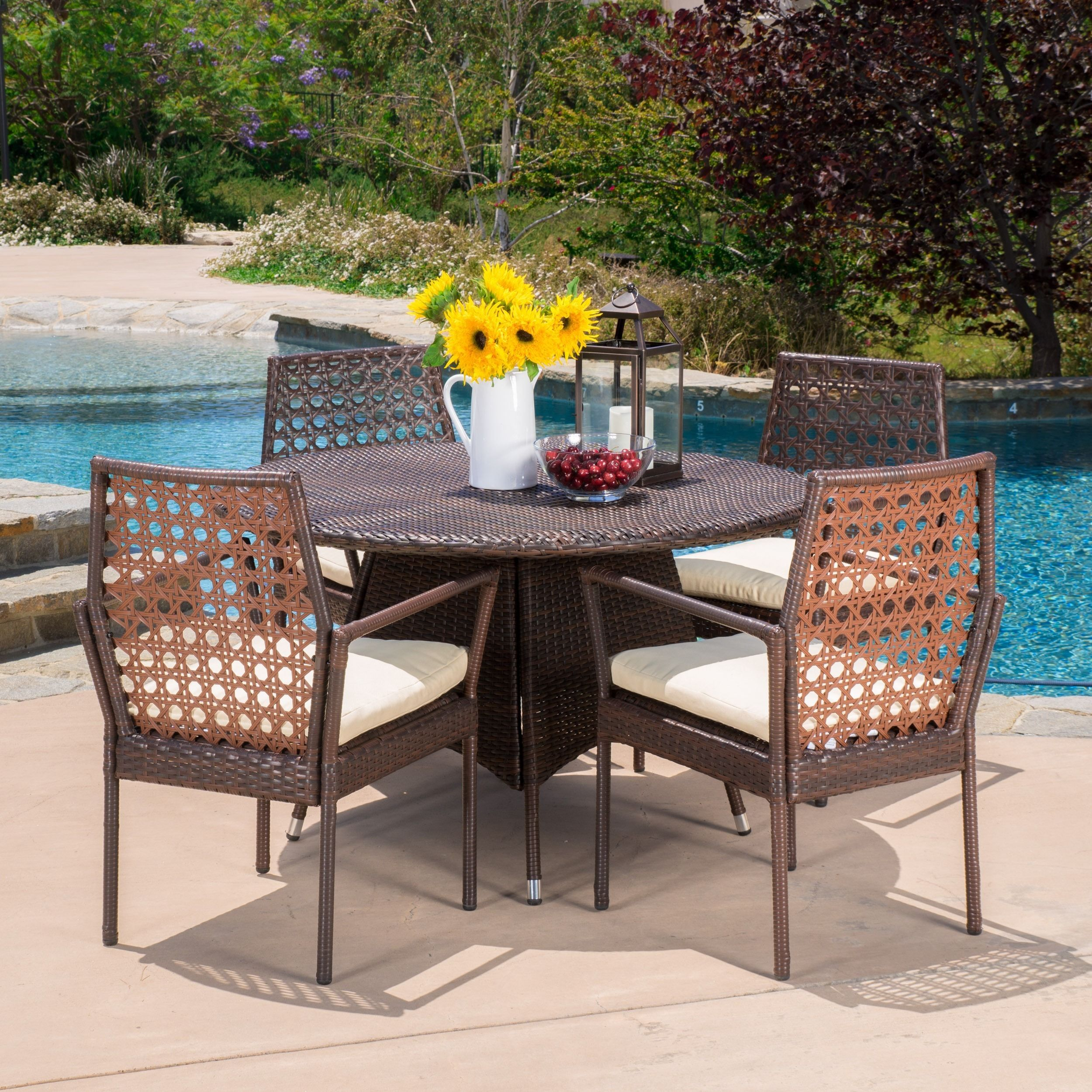 Parry Outdoor 5 Piece Wicker Dining Set With Cushions By