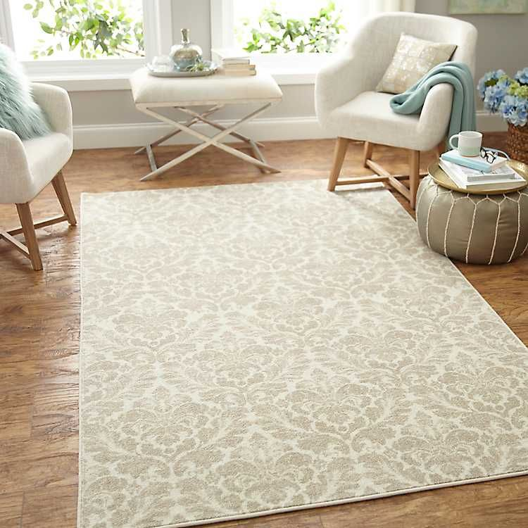 Bonjour Damask Area Rug 8x10 With Images Damask Linen Area
