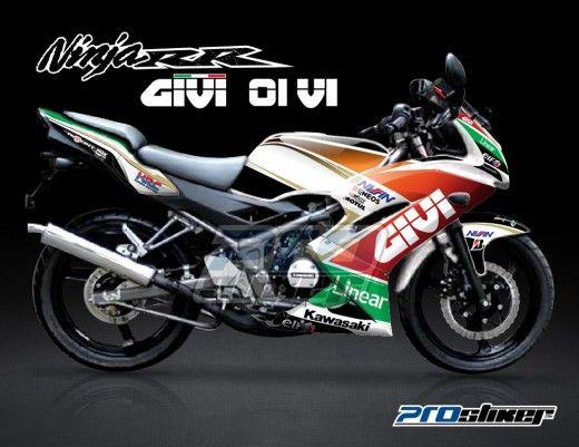 Stiker Motor Ninja 150 RR Putih   GIVI 01 V1. Striping Ninja 150 RR New Hijau Motif SunMoon V1 Hijau Rossi